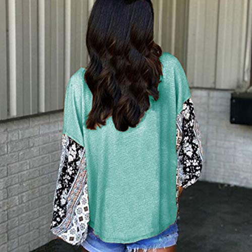 Rond Shirts Printemps Manches Automne Blouse Femmes Fashion Imprime Jumpers Hauts Vert Pulls Col Tops Tees pissure T Longues et xRwxZn0rO