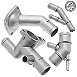 #3: Aluminum Coolant Flange Upgrade Kit for VW MK4 Golf Jetta GLI GTI TT 337 1.8T (Cooling Hose Flange+Coolant T-Fitting+Thermostat Housing Cover+Water Distribution Pipe)