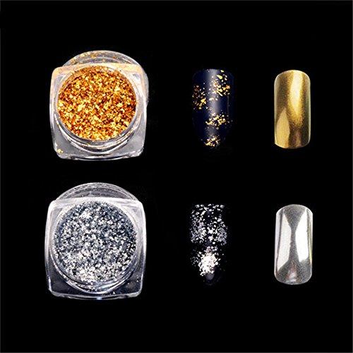 Gold/Silver Glitter Aluminum Flakes Magic Mirror Effect Powders Sequins Nail Gel Polish Chrome Pigment Decorations