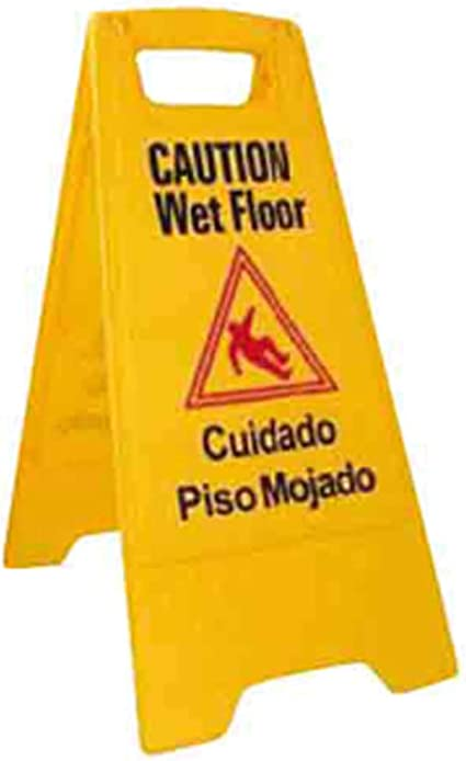 New Yellow Winco WCS-25 2-Sided Wet Floor Caution Sign New Free Shipping