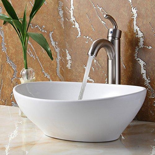 ELITE Bathroom Egg White Ceramic Porcelain Vessel Sink & Brushed Nickel Finish Single Lever Faucet