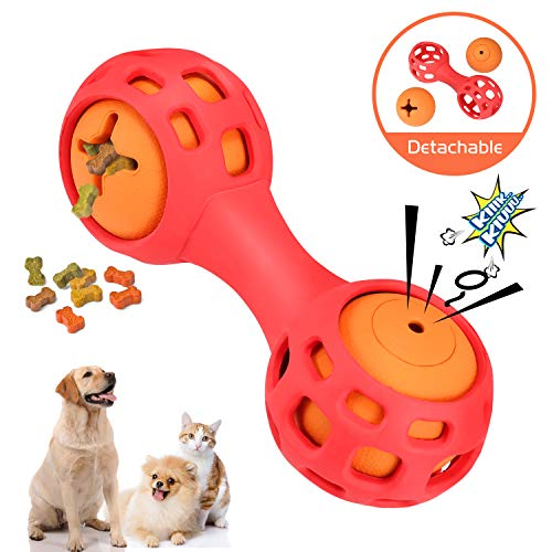 WINGPET Interactive Dog Chew Toys - Treat Dispensing & Squeaky Balls Rubber Dog Toys, 2-in-1 Set for Small Dogs Puppy, Tough and Durable Rubber, Great for Pets Funny Training and -