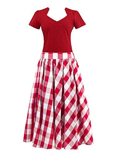 Pleated Top rojo Vintage Women's shirt Skirt Midi High Kimring Plaid Set Waisted Rojo T qOX7qwx