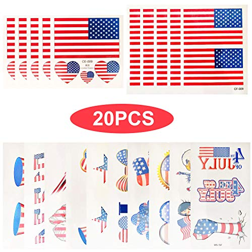 20 Sheet 4th of July Patriotic Temporary Tattoos Patriotic Stickers Tattoos USA Independence Day Tattoo Stickers for Party Supplies]()