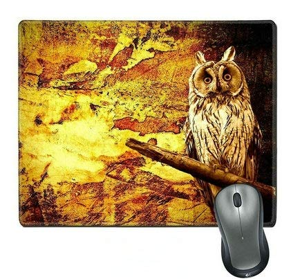Natural Rubber Mouse Pad/Mat with Stitched Edges;owl Abstract Halloween Grunge background33 -