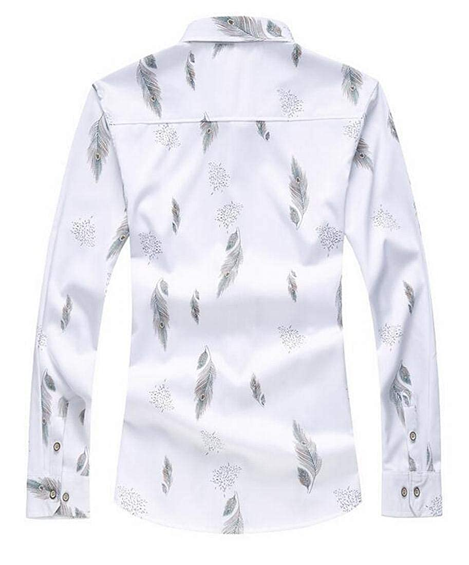 WNSY Men Casual Long Sleeve Feather Print Lapel Button Down Shirt