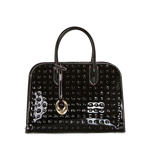 Arcadia Pavona Italian Large Leather Patent Grab Handbag Bowling Bag