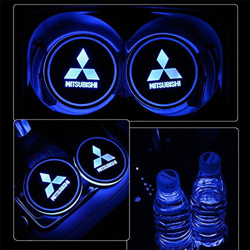 monochef Auto sport 2PCS LED Cup Holder Mat Pad Coaster with USB Rechargeable Interior Decoration Light (Mitsubishi)