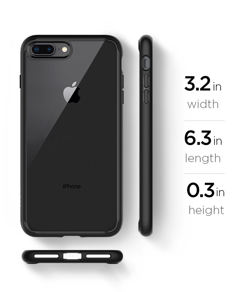 Spigen Ultra Hybrid [2nd Generation] iPhone 7 Plus Case/iPhone 8 Plus Case with Clear Backing and Air Cushion Technology for iPhone 7 Plus (2016)/iPhone 8 Plus (2017) - Black by Spigen (Image #9)