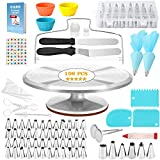 CANI 106 PCS Cake Decorating Supplies Kit, Aluminium Rotating Turntable Stand, Frosting & Piping Tips, Icing Spatula, Scraper, Smoother, Flower Nails, Cutter, Disposable Pastry Bags, Pro Baking Tools