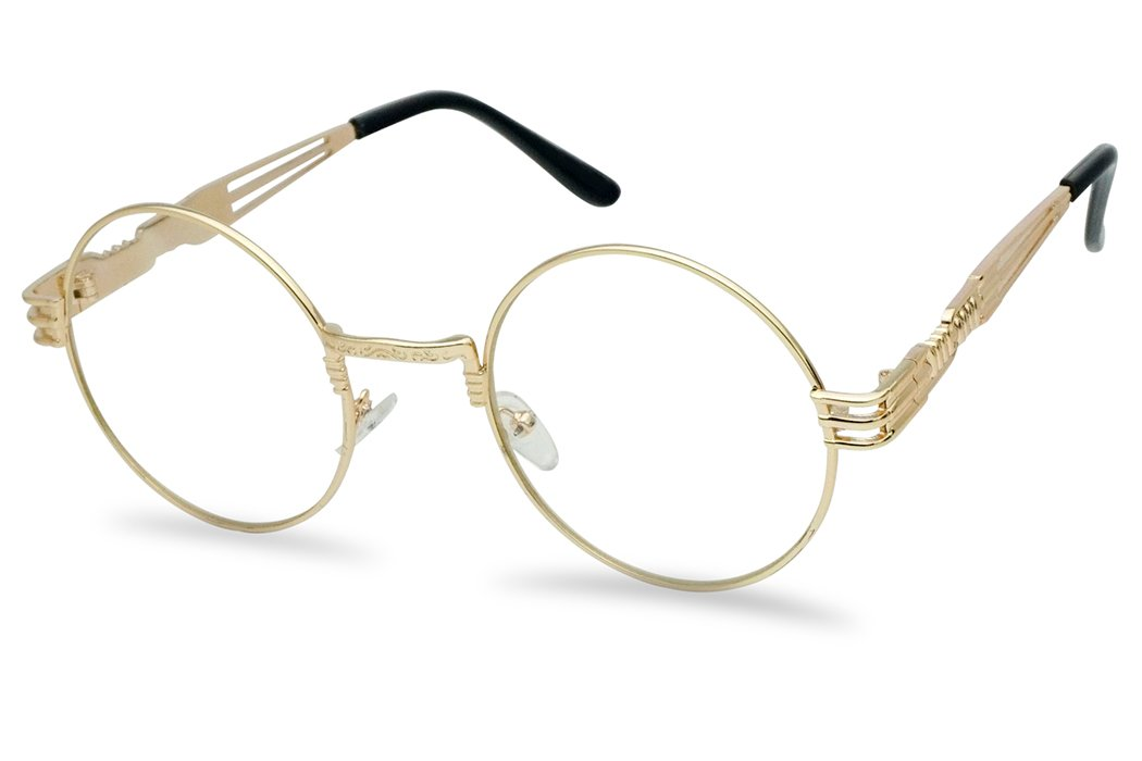 Vintage Round Steampunk Open Metal Brow Bar Flat Clear Lens Fashion Glasses (Gold, Clear) by SunglassUP