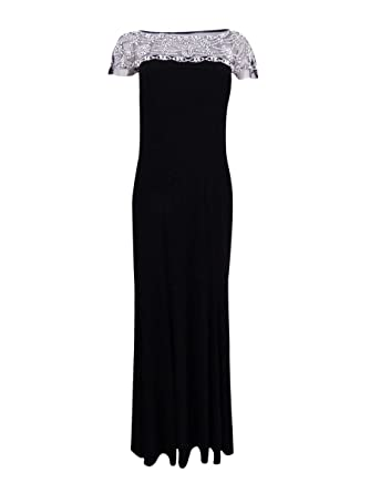 33b9dfa5bc Amazon.com  R M Richards Womens Beaded Black Tie Evening Dress  Clothing