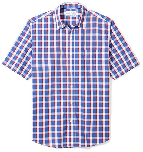Amazon Essentials Men's Regular-Fit Short-Sleeve Casual Poplin Shirt, blue/red plaid, Small