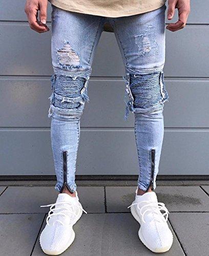 Tasche Allenamento Polsino Skinny Fit Pantaloni Mode Pantalone Uomo Cargo Blu Sportivi Laterale Jogging Casual Jeans Slim SOaWRw