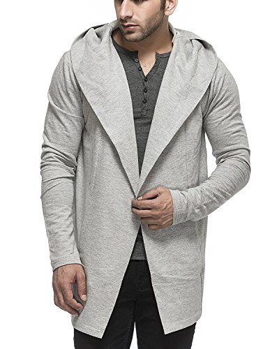 Tinted Men's Cotton Blend Hooded Cardigan (S, Grey) by Tinted