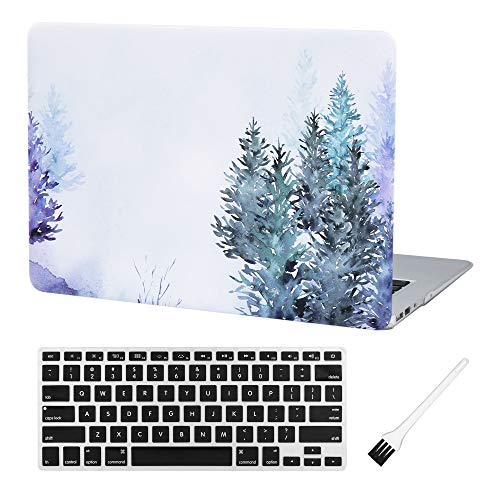 Laptop Hard Case MacBook Air 13 inch Case A1369 A1466 Matte Rubberized Hard Shell Case Cover (Modal: A1369 & A1466) with A1369 A1466 Silicon Keyboard Cover and Dust Brush (Green Trees)