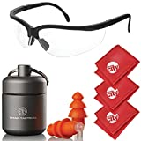 Titan Tactical Eyes + Ear Protection Kit w/29NRR Reusable Shooting Ear Plugs + Mil-Spec Clear Range Ballistic Glasses (for Normal + Small Ear Canals)