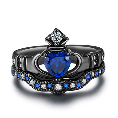 - Yoursfs Women's Celtic Claddagh Rings Black Heart Traditional Friendship Ring Sizes 6-10