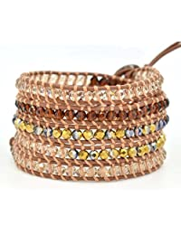 M&B Multi-Layered Beaded Wrap Leather 4-in-1 Bracelet Anklet Necklace Accessory