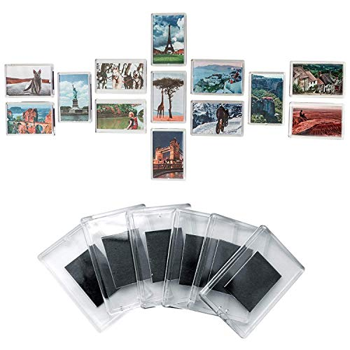 Acrylic Magnet Frame - Set of 50 Blank Photo Frame Fridge Magnets by Kurtzy - Quality Clear Acrylic Refrigerator Magnet with Picture Insert Size 7cmx4.5cm - Magnetic Frame Great for Family Photos, art work & Fun for Kids