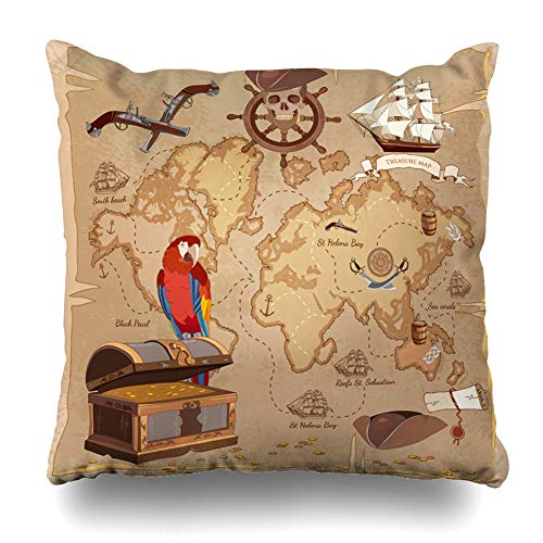 Ahawoso Throw Pillow Cover Square 16x16 Inches Roger Adventure Old Pirate Treasure Map Chest Parchment Parks Vintage Anchor Ancient Scroll Antique Cushion Case Home Decor Pillowcase ()