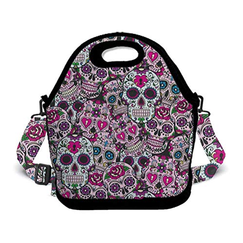 - BOYO ME Kids Children Lunch Bag Lunch Box - Sugar Skull Durable Lunch Pouch Containers, Leak-Proof, Mom Bag with Zipper, Adjustable Strap, Compact/Reusable/Insulated