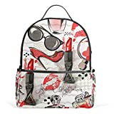 ALINLO Retro Watercolor Lips Glasses School Backpacks Multi-Pocket Casual Bag Travel Daypack for Boys Girls Students