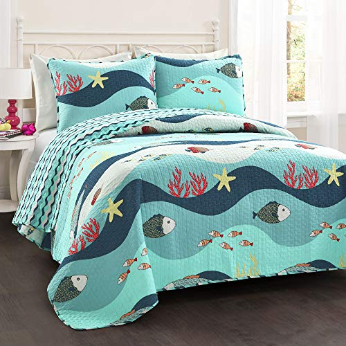 Lush Decor Sealife Fish Ocean Wave Reversible 3 Piece Quilt Bedding Set, Full/Queen, Blue (Ocean Comforter Set)