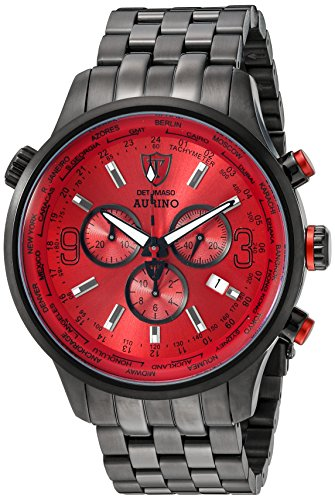 DETOMASO Men's DT1061-B AURINO XXL Chronograph Trend rot/schwarz Analog Display Swiss Quartz Red Watch