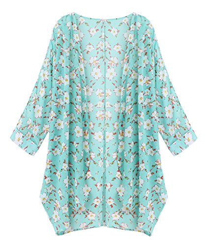OLRAIN Women's Floral Print Sheer Chiffon Loose Kimono Cardigan Capes (Medium, Green-2)