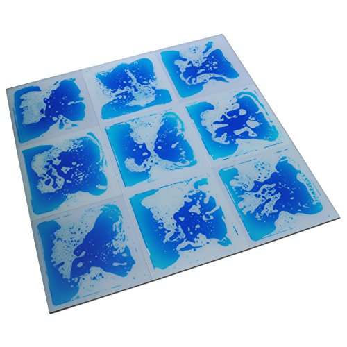 Art3d 6-Piece Liquid Dance Floor Tile Decorative Flooring System, 16 Sq.Ft Blue