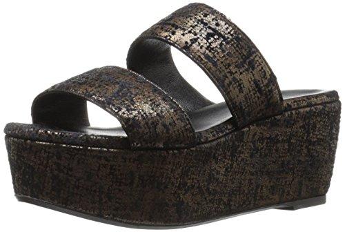 Robert Clergerie Women's FRAZZIAL Wedge Sandal, Bronze Tweed Suede, 38.5 EU/8 B US