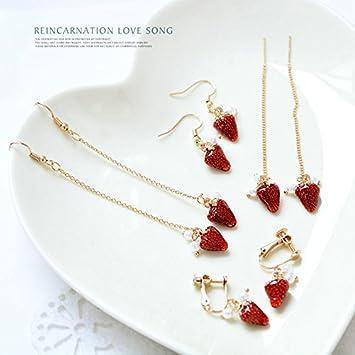 a6302b9d25c4 Amazon.com   2018 new tempting strawberry earrings ear clip without pierced  ears can wear earrings temperament female fashion jewelry earrings   Beauty
