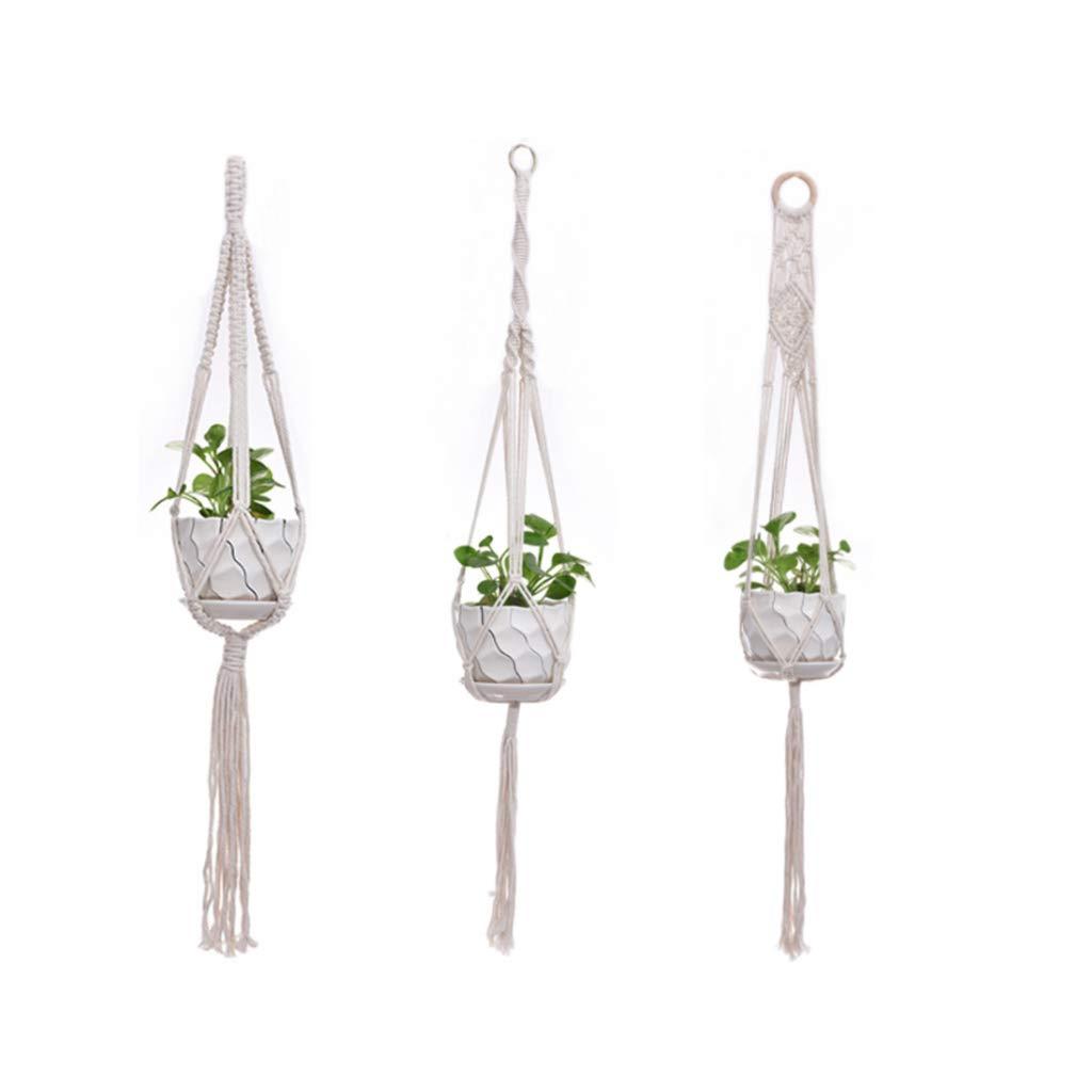 soporte para macetas maceta Lailongp Juego de 3 macram/é para colgar las plantas macetero cesta soporte para macetas para decoraci/ón de jard/ín