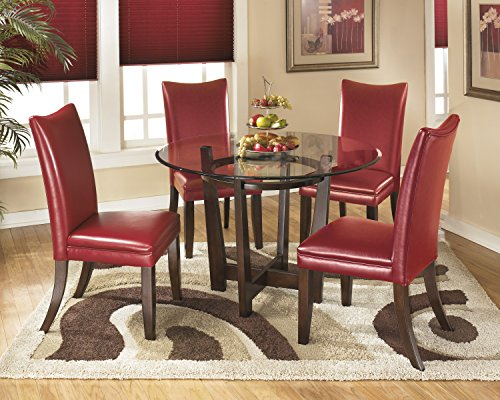 Charrielly Contemporary Medium Brown Round Dining Room Table w/ 4 Red Upholstered Side Chair Contemporary Round Upholstered Chair