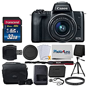 Canon EOS M50 Mirrorless Digital Camera + EF-M 15-45mm f/3.5-6.3 IS STM Lens (Graphite) + 32GB Memory Card + BTC-6 Camera Bag + USB Card Reader + Screen Protector + Cloth – Deluxe Accessory Bundle