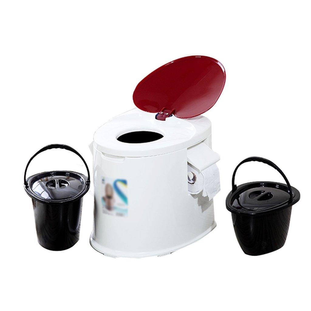 軽量でポータブルなキャンプ用トイレは、屋内と屋外のLooに適していますキャンプキャビンのピクニック釣りとフェスティバルダブルクラムシェルダブルバレル (色 : 赤) B07CY1LPKZ  赤