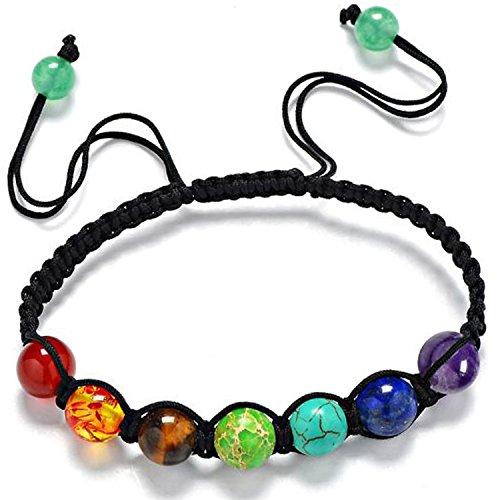 Omonic 7 Color Chakra Bracelet Reiki Nature Rainbow Crystal Quartz Bracelet 8mm Beads Bracelet Bangle (Bracelet Bead Rainbow)