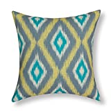 CaliTime Canvas Throw Pillow Cover Case for Couch Sofa Home Decoration Geometric Accent 18 X 18 Inches Modern Ikat Diamonds Grey Yellow Teal