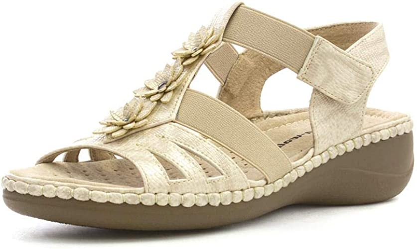 WOMENS DR KELLER ROSE GOLD WIDE FIT SUMMER STRAPPY BEACH SANDALS LADIES SIZE 3-8