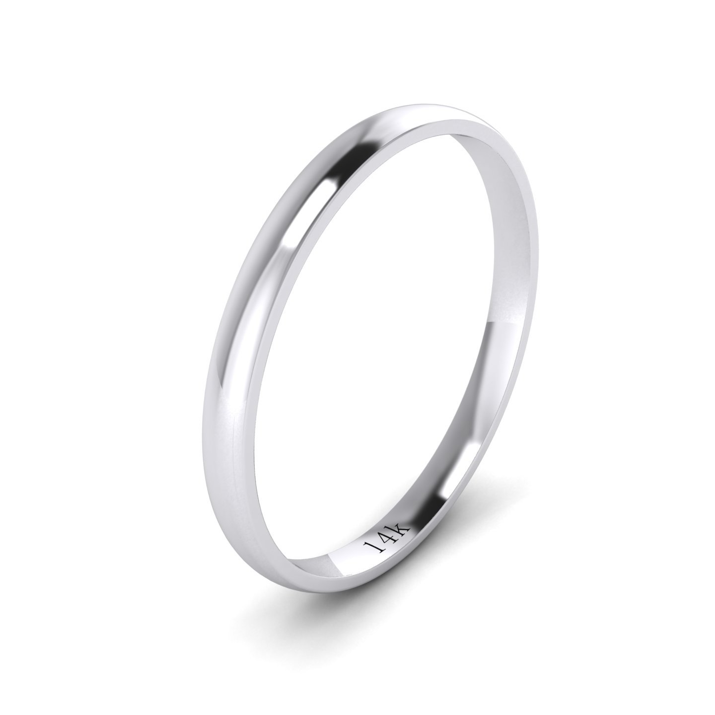 Unisex 14k White Gold 2mm Light Court Shape Comfort Fit Polished Wedding Ring Plain Band (11.5)