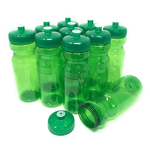 CSBD Blank 24 oz Sports and Fitness Water Bottles, BPA Free, PET Plastic, Made in USA, Bulk (Green, 10 Pack)