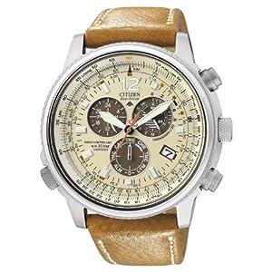 Citizen AS4020-44B - Reloj cronógrafo de Cuarzo para Hombre, Correa de Piel de Borrego Color marrón 2
