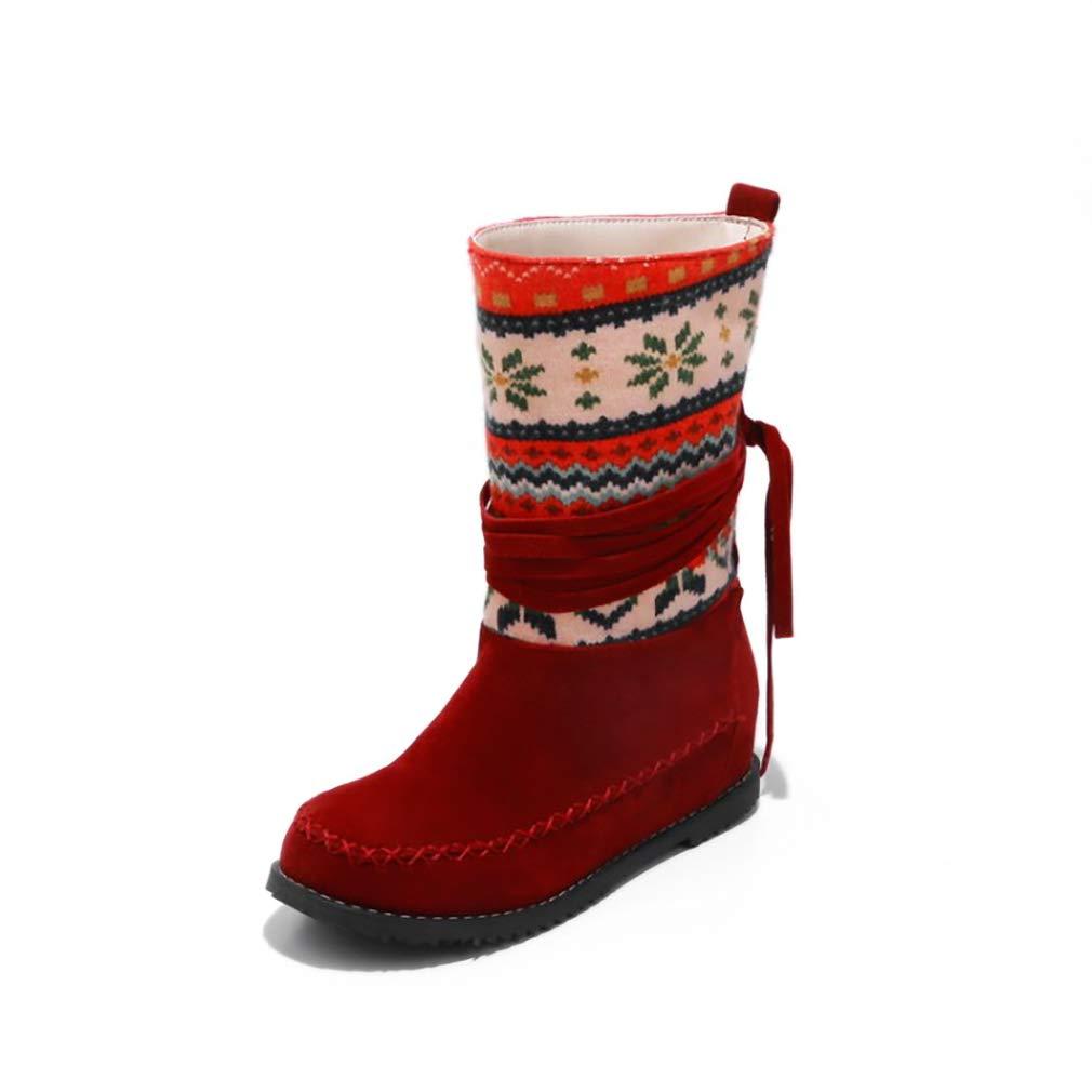 Hy Damen Stiefelies Herbst/Winter Wildleder Lässig Flache Ferse Stiefelies/Damen National Wind Large Größe Stiefel/Stiefeletten (Farbe : EIN, Größe : 40)