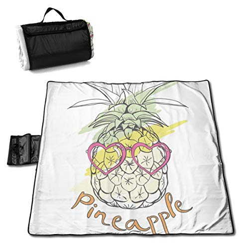 LBSYT Picnic Blanket Pineapple Heart Sunglasses Waterproof Beach Blanket Sand-Proof Folding Portable Tote Picnic Mat Camping Blanket 150x145 cm
