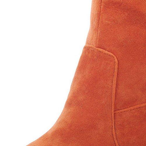 AllhqFashion Mujeres Puntera Redonda Cerrada Sólido Caña Alta Plataforma Botas con Borlas Naranja