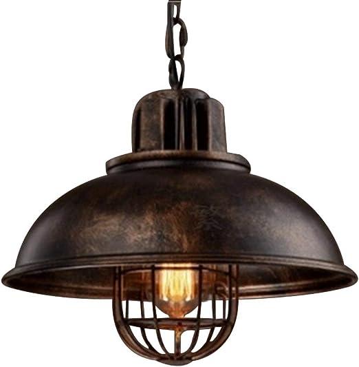 NIUYAO Lampe Suspension Lustre Abat jour en Métal avec Grills Loft Style Chandelier Industriel Vintage Pendentif Lumière Rouille