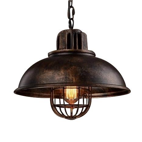 NIUYAO Lámparas de araña Metal Jaula Candelabro Iluminación de techo Industrial Chandelier Retro 1 Luz-Rust