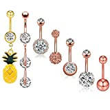 JDXN 6-8PCS 14G Stainless Steel Belly Button Rings CZ Pineapple Dangling Dangle Navel Ring Body Piercing (7PCS rose gold)