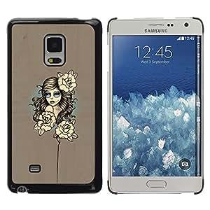 LECELL--Funda protectora / Cubierta / Piel For Samsung Galaxy Mega 5.8 -- Mujer floral --